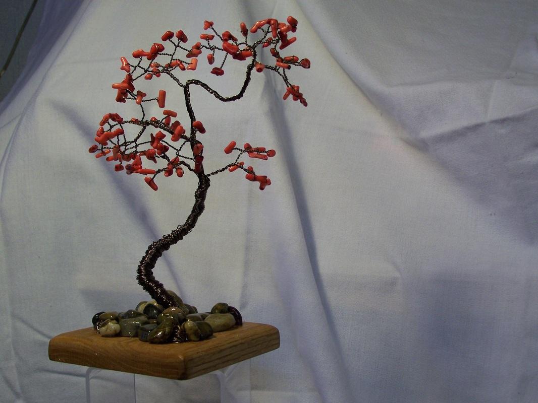 Beaded Wire Tree sculptures - Castle Green Art Glass Studio